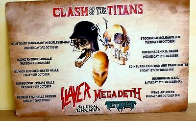 Clash Of The Titans Slayer Megadeth Testament Suicidal 1990 8x12 Inch Metal Sign • 9.99£