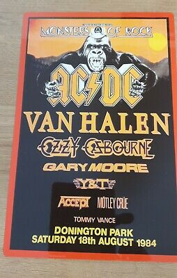 Ac/dc Van Halen Ozzy Monsters Of Rock Castle Donington 1984 8x12 Inch Metal Sign • 8.99£