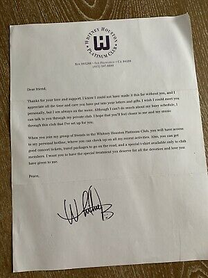 Very Rare Whitney Houston Fan Club Welcome Letter • 7.94£