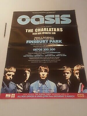 "***Huge Double Sided OASIS At Finsbury Park July 2002 Poster - 33"" X 23"" !! *** • 24.95£"