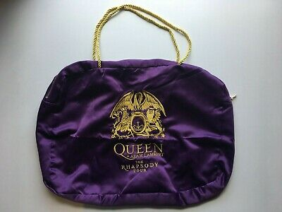 Queen & Adam Lambert The Rhapsody Tour Merchandise Purple Gold Emblem Bag • 25£