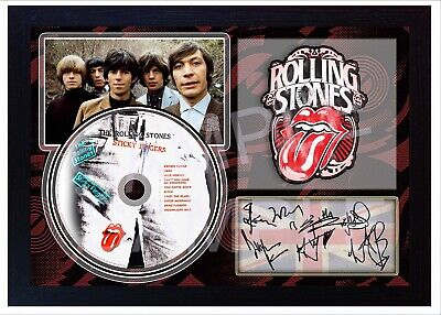 NEW The Rolling Stones Sticky Fingers  SIGNED FRAMED Print CD Disc Perfect Gift • 19.99£
