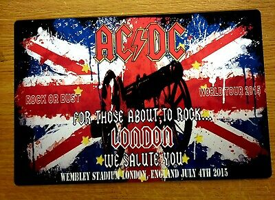 AC/DC ROCK OR BUST WORLD TOUR LONDON WEMBLEY JULY 2015 12x8 METAL SIGN • 9.99£