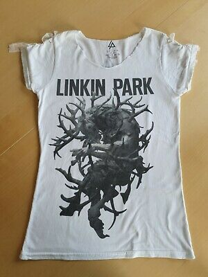 Linkin Park 2014 Hunting Party Tour T Shirt Small Ladies Ripped Vintage Size 6-8 • 3.99£