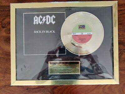 NEW AC/DC Back In Black Framed 24ct Gold Plated Disc From Fab Cool Stuff Shop   • 4.99£