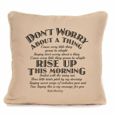 Bob Marley Three Little Birds Lyrics Cushion With Pad Don't Worry About A Thing • 14.99£
