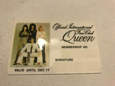 Original 1976 Official International Fan Club Membership Card (Black, No Name) • 19.99£