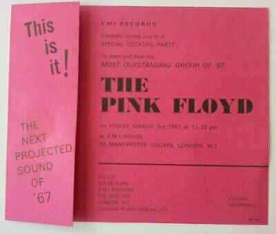 Pink Floyd 1967 Launch Party Invitation (UK) • 1,400£