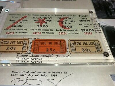 WOODSTOCK 1969 3 DAY TICKETS And ✅ FOOD FOR LOVE CONCESSION COUPONS Jimi Hendrix • 147.25£