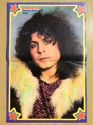MARC BOLAN ~ T REX ~ Centre Page Poster From Music Star 1973/1974 • 10.95£