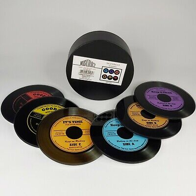 Musicology By Harvey Makin HM1262 Glass Vinyl Record Design Coasters - Set Of 6 • 9.99£