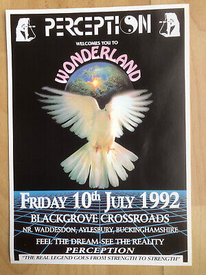 Rave Flyer A4 1992 PERCEPTION Wonderland 10/07/1992 Buckinghamshire • 4£