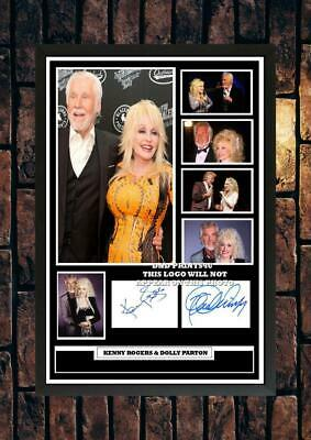 (#362) Kenny Rogers & Dolly Parton Signed A4 Photo//framed (reprint) Great Gift • 14.99£