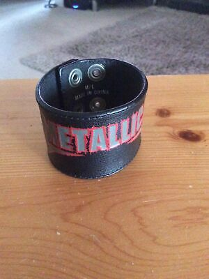 METALLICA LOGO WRISTBAND Wrist Strap Black Real Leather Adjustable Stud Closure • 5£