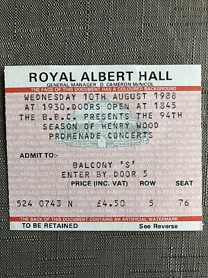 Royal Albert Hall Proms Ticket For 10 August 1988 • 1.59£