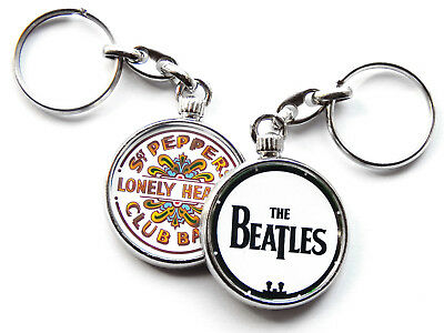 THE BEATLES Classic Rock Band Chrome Keyring Picture Both Sides • 5.49£