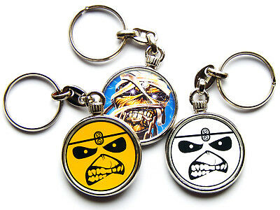 IRON MAIDEN Heavy Metal Band Chrome Keyring Picture Both Sides • 5.49£