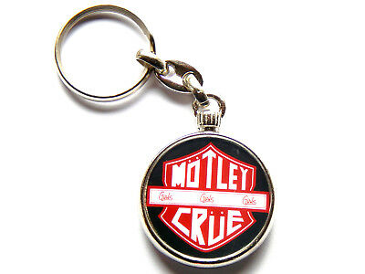 MOTLEY CRUE Heavy Metal Band Chrome Keyring Picture Both Sides • 5.49£