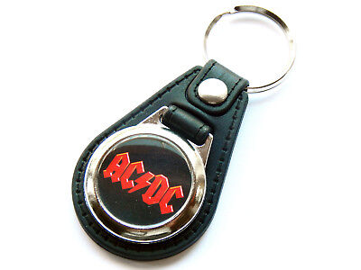 ACDC Classic Rock Band Quality Leather And Chrome Keyring • 5.99£