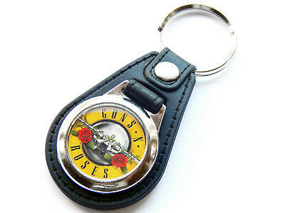GUNS N ROSES Yellow Design Classic Rock Band Quality Leather And Chrome Keyring • 5.99£