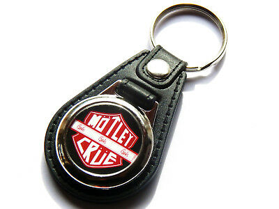 MOTLEY CRUE Heavy Metal Band Quality Leather And Chrome Keyring • 5.99£
