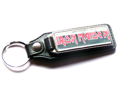 IRON MAIDEN Heavy Metal Band Large Leather And Chrome Keyring • 5.99£