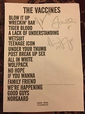 The VACCINES SIGNED AUTOGRAPH Setlist 27th June 2012  At Brixton Academy London • 49.99£