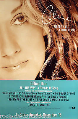 Celine Dion 1999 All The Way Original Promo Poster  • 11.17£