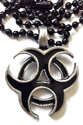 BIO HAZARD SYMBOL 35mm BLACK ENAMEL PENDANT 24  Black Chain  = PC0016 • 6£