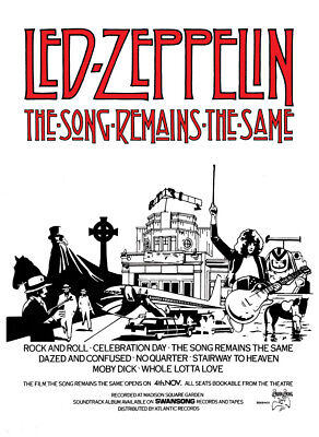Led Zeppelin   The Song Remains The Same  Film  Poster.  • 24£