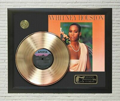 Whitney Houston Framed Legends Of Music Gold LP Record Display • 138.97£
