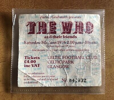 The Who Concert Ticket - June 5th 1976 At Celtic Park Glasgow • 10£