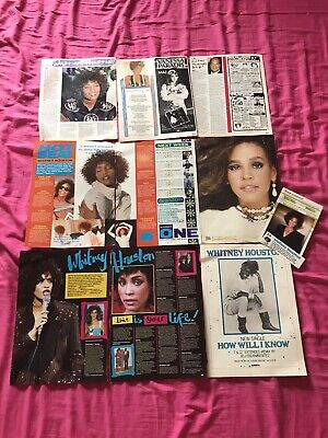 Whitney Houston Vintage Cuttings Poster Features 1980's Lot • 4.99£