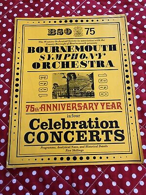 1968 BOURNEMOUTH SYMPHONY ORCHESTRA 75th ANNIVERSARY YEAR PROGRAMME • 3.50£