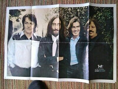 Beatles Poster With Stickers On Reverse • 8.50£