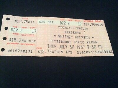 Whitney Houston  Pittsburgh Civic  Arena Concert Ticket Stub Vintage July 1987 • 37.52£
