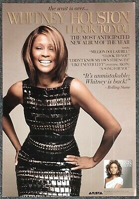 Whitney Houston I Look To You 2009 Double-sided PROMO POSTER • 11.58£