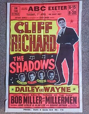 Cliff Richard And The Shadows Exeter Abc Original  Poster 1964 • 175£