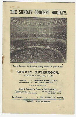 1902 Kirkby Lunn Henry Wood Queen's Hall Concert Programme London Queen Victoria • 4.99£