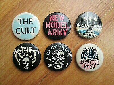 6 X Vintage  Badges The Cult New Model Army Beasty Boys Dead Kennedy's Electric • 4.20£