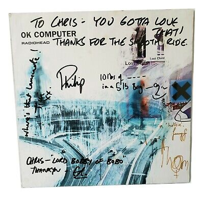 Full Band Autographed Radiohead OK Computer 1997 Tour Poster, Vintage Shirt +++ • 740.08£