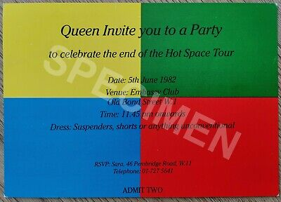Queen Original Invitation To Hot Space End Of Tour Party The Embassy Club 1982 • 150£
