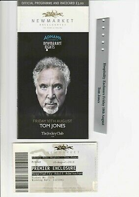 Tom Jones 2012 Newmarket Nights Racecard And Programme + Ticket Stub & Wristband • 4.99£
