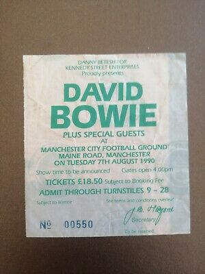 David Bowie Used Ticket Stub Manchester City F.C. Tuesday 7th August 1990 • 17£