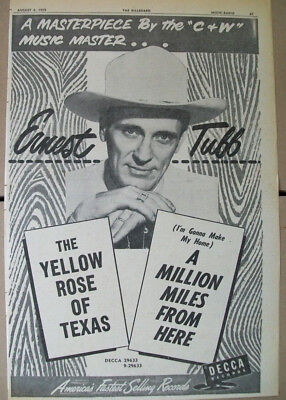 Ernest Tubb 1955 Ad- The Yellow Rose Of Texas/A Million Miles From Here  Decca • 14.18£
