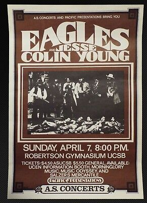 The Eagles Jesse Colin Young ORIGINAL 1974  CONCERT POSTER California • 237.79£