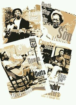 Set Of 4 Blues Music Posters Celebrating Country Blues Icons (unframed) • 10£