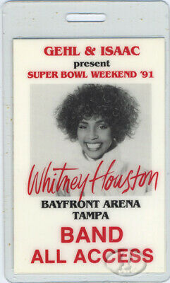 WHITNEY HOUSTON 1991 Laminated Super Bowl Pass Band • 19.30£
