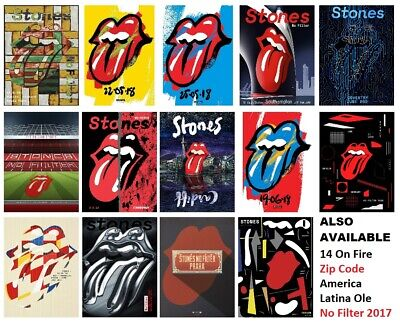Rolling Stones 2018 NO FILTER Tour Prints 19 Designs - NOT ZIP CODE / 14 ON FIRE • 6.99£