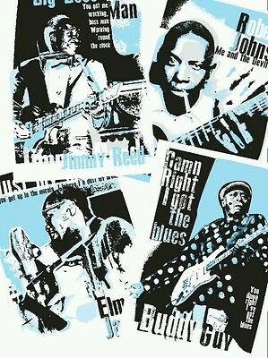 Set Of 4 Blues Music Posters Celebrating Blues Icons (unframed) • 10£